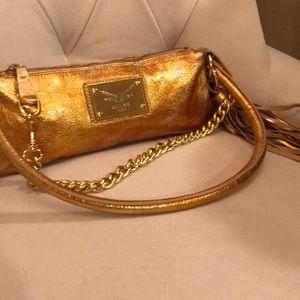 Handbags - Guia's gold leather clutch